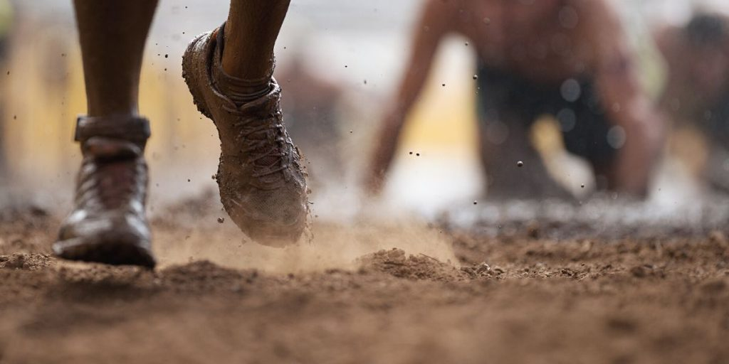 shoes running through the mud