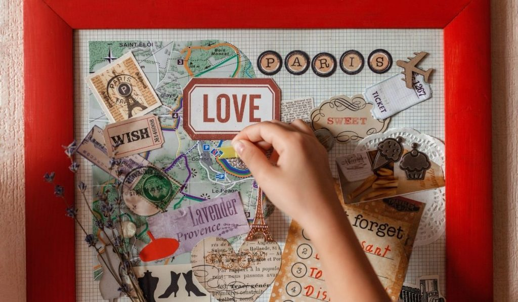 kid creating her vision board collage